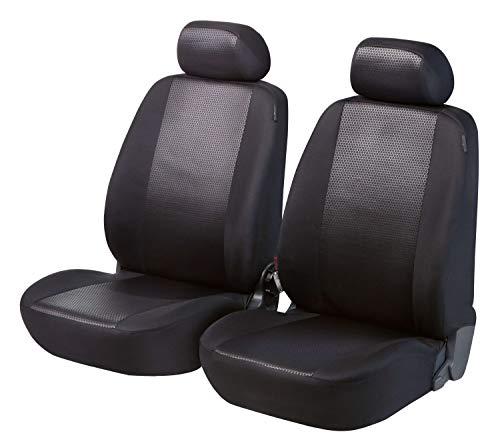 Walser Auto Sitzbezüge, Auto Schonbezüge Shiny Premium, 2 Vordersitzbezüge in schwarz/grau 11970