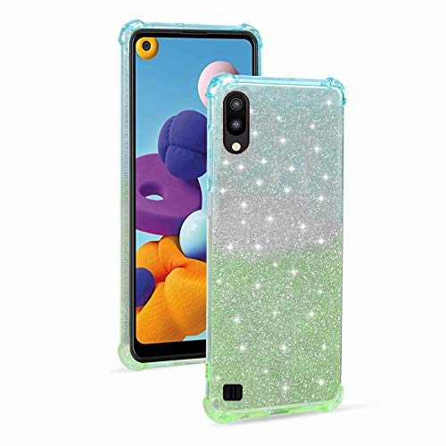 Miagon Soft Glitter Case for Samsung Galaxy A10,Slim Shockproof 2 in 1 Flexible Silicone Bumper Protective Phone Sparkly Case Cover Girls Women,Blue Green