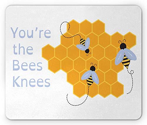 Rektangulär halkfri gummimusmatta, honungsbi musmatta, du är Bees Knees kompletterar fras, blek Ceil blå ringblomma grå och vit 8 × 10