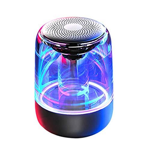 Mini Crystal Bluetooth 5.0 Altavoz, Inalámbrico Altavoces 6D HI-FI Envolvente Estéreo Pesados Bajo Voz Cancelación de Ruido Mic Llamada Manos Libres LED Luces, para PC/Teléfono/Box Juego(Color:Black)