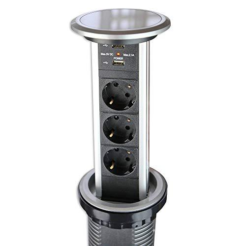 Automatisch versenkbare Steckdose für Küche und Büro mit Touch-Funktion – Steckdosenleiste aus Aluminium ideal für Arbeitsplatte, Tischsteckdose mit 3-fach Steckdosenelement und 2x USB | Silber