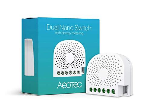 AEOTEC Dual Nano Switch Controlador de Encendido/Apagado with Power Metering, 2 interruptores, Z-Wave Plus, en Pared, Funciona con Alexa