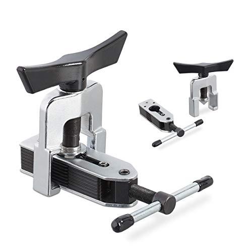 Relaxdays 10033741 Cartellatrice Universale, per Tubi dal D: 4,7-16 mm (3/16'-5/8'), Tubature in Rame & Alluminio, Nero/Argento