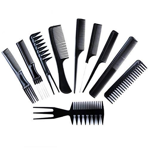 Styling 10pcs Cheveux Stylistes Professional Peigne Variety Pack Idéal Pour Tous Les Types De Cheveux Et Styles - Noir