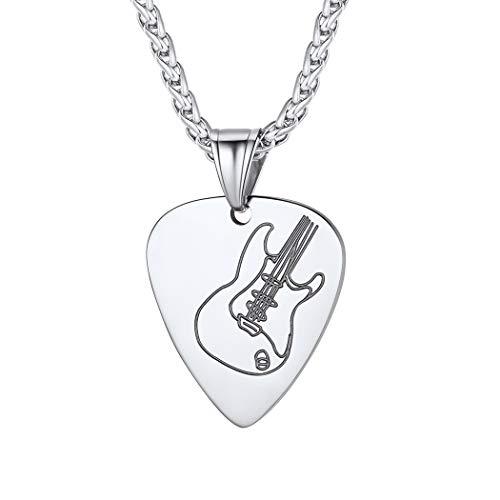 Suplight Herren Kette Edelstahl Plektron Anhänger Halskette Plektrum mit Gitarre Muster Guitar Pick Necklace Rocker Musikliebhaber Modeschmuck Geschenk für Geburtstag Weihnachten