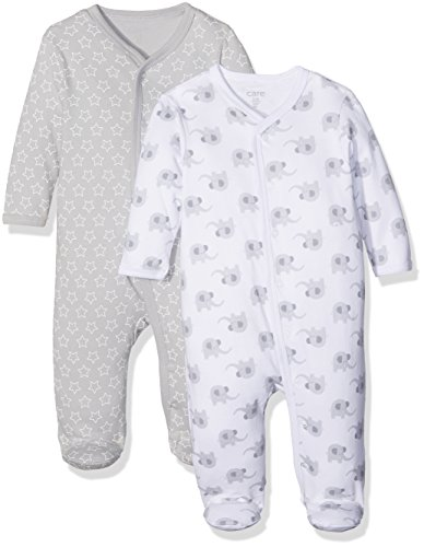 Care Unisex Baby Strampler 4136, 2er Pack, Gr. 56, Mehrfarbig (Light Grey 142)
