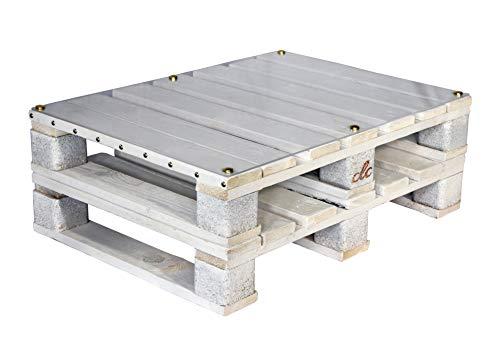 Tavolo Tavolino in Pallet per Salotto Esterno Giardino -Made in Italy- Bianco Shabby Chic, 80x60x30