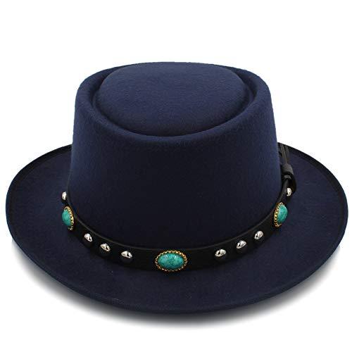 Fashion Flat Top Hat 8 Farbe Mode Unisex Klassiker Filz Pork Pie Porkpie Hut Kappe Upturn Feodora Hüte Kurze Krempe Schwarz Band Hut Boater Hat (Farbe : Dunkelblau, Größe : 56-58CM)