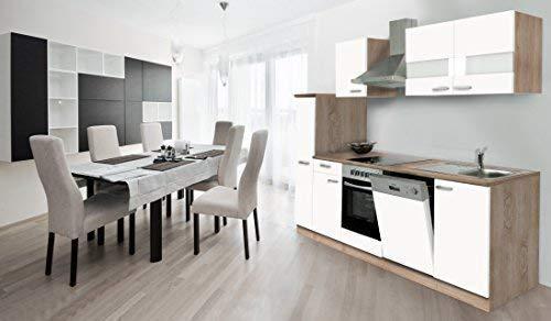 respekta Küche Küchenzeile Einbauküche Küchenblock 250 cm Eiche Sägerau Weiss Ceran