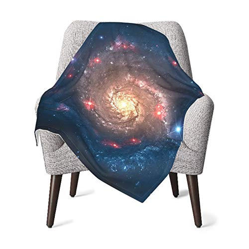 Space Decorations Mystical Spiral Galaxy Expanse Beyond Milky Way Planet Astral Space Art Decor Petrol Blue Coral Baby Blanket, Baby Quilt, Baby Comfort Blanket, Baby Double Blanket