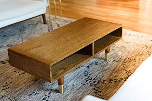 Posh Pollen Diego Living Room Furniture Mid-Century Coffee Table, Gold Brass
