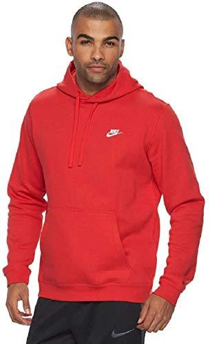 Nike Men's Club Fleece Pullover Hoodie (University Red White, XL)
