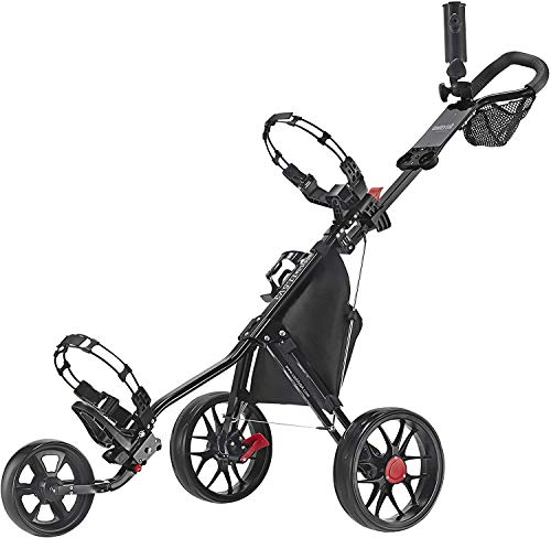 Caddytek CaddyLite 11.5 V3 3 Wheel Golf Push Cart - Superlite Deluxe, Lightweight, Easy to Fold Caddy Cart Pushcart, Black