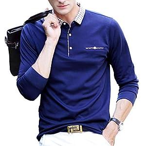 ポロシャツ 長袖 メンズ ゴルフウェア ビジネス スポーツポロシャツ 男性 ゴルフポロシャツ 秋 冬 春 ブルー 8877BLUE-L