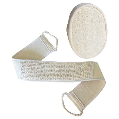 EXCEART Badbruisballen Luffa Bad Kit Creatieve rug wrijven strepen lange badhanddoek lichaam peeling handdoek voor de douche 1 set (Beige)