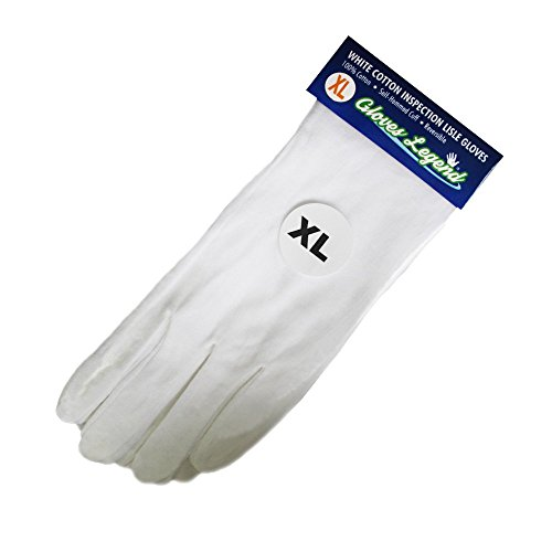 Size Extra Large - 6 Pairs (12 Gloves) Gloves Legend White Coin Jewelry Silver Inspection Cotton Lisle Gloves - Premium Weight