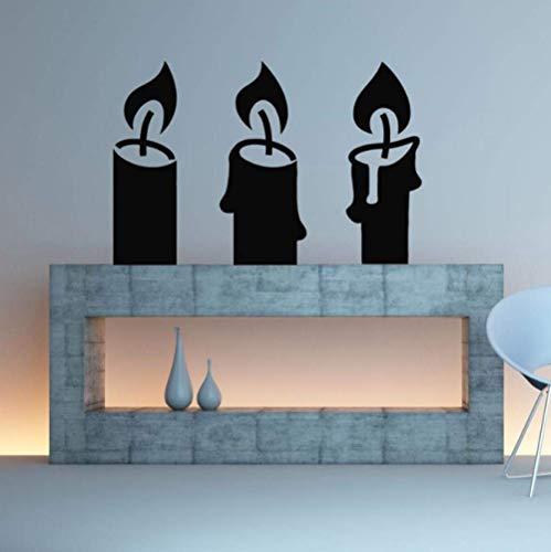 Kerze Kandelaber Abnehmbare Wandaufkleber für Kamin Wohnzimmer Tapete Kunst Dekoration Vinyl Wandtattoos Kunst Wandbilder 86X57cm