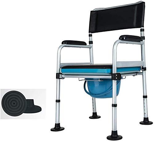 FREIHE Medische opvouwbare commode stoel, in hoogte verstelbaar, draagbaar 3-in-1 bed wc de zetel, Heavy-Duty 500 lbs, grote antislipmatten, comfortabel en veilig