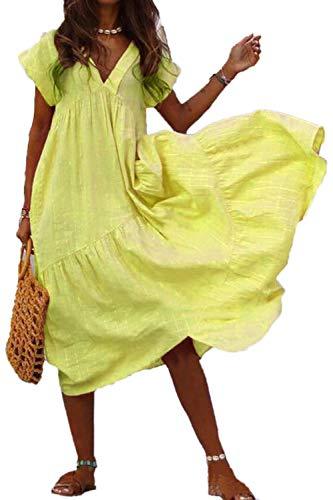 Mujeres Verano Algodón Lino Vestido Cuello Volantes Swing Boho Vestidos Amarillo XXL