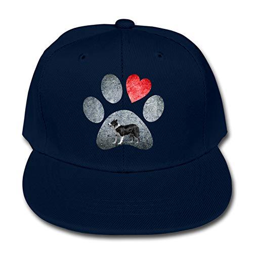 Whhfashion Gorra de béisbol con diseño de pata de perro de amor, gorra de béisbol para niños y niñas, para senderismo, gorra ajustable 6-12T, color negro