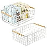 mDesign Juego de 2 cajas multiusos grande de metal – Caja organizadora...