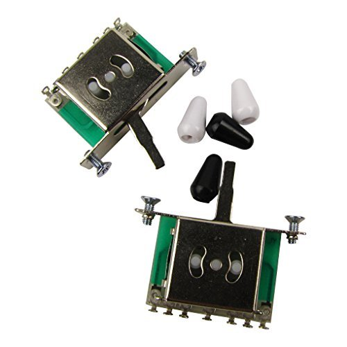 Musiclily Electric Guitar 5 Way Pickup Selector toggle Switch, Black and White Tips (Pack of 2)