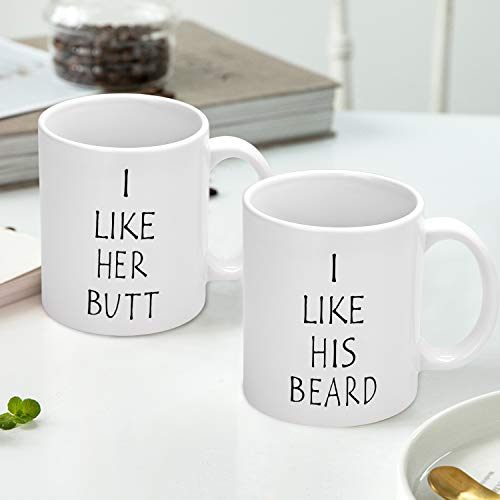 I Like His Beard, I Like Her Butt Couples Funny Coffee Mug Set Wedding Gifts Couples Gifts Engagement Gifts for His and Hers Best Gifts For Husband and Wife Coffee Cups 11oz (Beard, 11 oz)