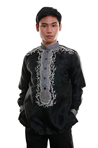 Organza Barong Tagalog with Lining Black 002 - Traditional Filipino Clothing Philippine Culture Dress Shirt (X-Large)