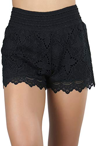 ToBeInStyle Women's Flowers Style 3 Lace Shorts - Black - Medium