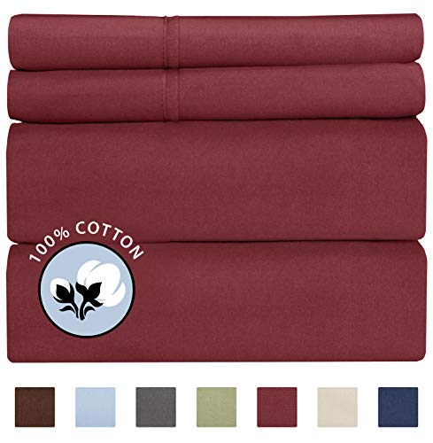 100% Cotton King Sheets Burgundy (4pc) Silky Smooth, Cooling 400 Thread Count Long Staple Combed Cotton King Sheet Set – 400TC High Thread Count King Sheets - King Bed Sheets All Cotton 100% Cotton