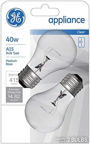 GE Appliance Clear Light Bulb 40w A15 Bulb Type Medium Base 415 Lumens 2 Count per Pack 1 Pack product image