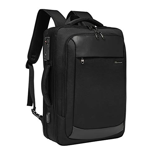 Modoker Briefcase Laptop Backpack, 17.3 Inch Laptop Bag for Men Women, Extra Large Business Travel Carry on Backpack, TSA Friendly, Black