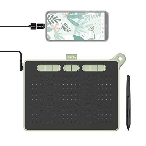 Parblo Ninos M 9 x 5 Zoll Zeichentablett OSU! Spielen, 8 Express Tasten mit Batteriefreier Stift, 8192 Füllstandsdruck Grafiktablett - Ideal für Home-Office & E-Learning (Zartes Grün)