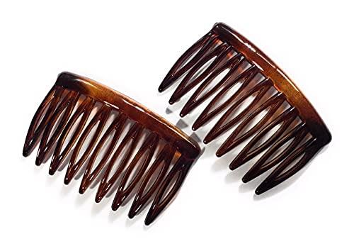 Lot de 2 mini peignes à dents fendues Marron havane 5,2 x 3 cm