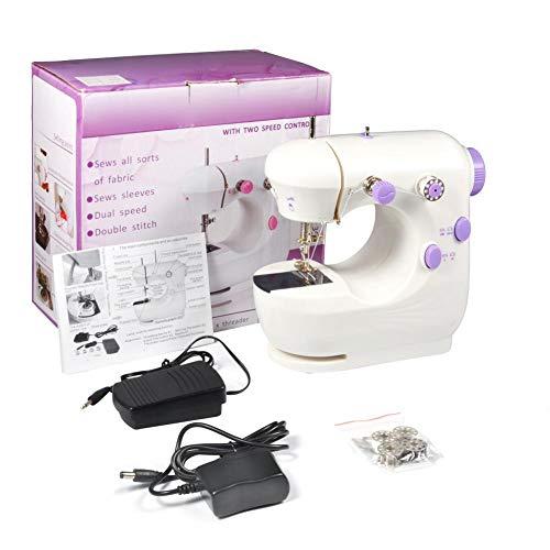 Máquina de coser, Mini multifunción púrpura herramientas de coser eléctricas portátiles profesionales de doble velocidad Herramienta de costura inalámbrica de mano mini máquina d