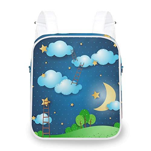 Multifunktionale lässige Büchertasche Umhängetasche Daypack Laptop Sternenhimmel Moon Moon Nachtleiter Rucksack