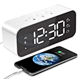 MOSUO Réveil Numérique, Horloge Digitale Réveil Matin Miroir LED Grand Ecran Aver Snooze/ 2 Alarme, Luminosité et Son Réglable, Activation Sonore, USB Charge Clock pour Maison Bureau, Blanc