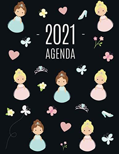Princesse Agenda 2021: Planificateur Mensuel | Janvier à Décembre 2021 | Pour l'Organisation à la Maison ou au Bureau