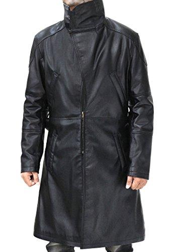 Fashion_First Herren Blade Runner 2049 Ryan Gosling Revers Pelzkragen Schwarz Leder Mantel Gr. M, Schwarz