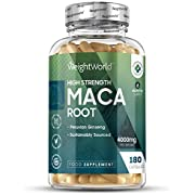 High Strength Maca Capsules 4000mg - 180 Tablets (6 Month Supply) - Natural Health Supplement for Men & Women, Energy Booster Pills, Womens & Mens Mood Booster, Herbal Root Extract, Vegan Friendly