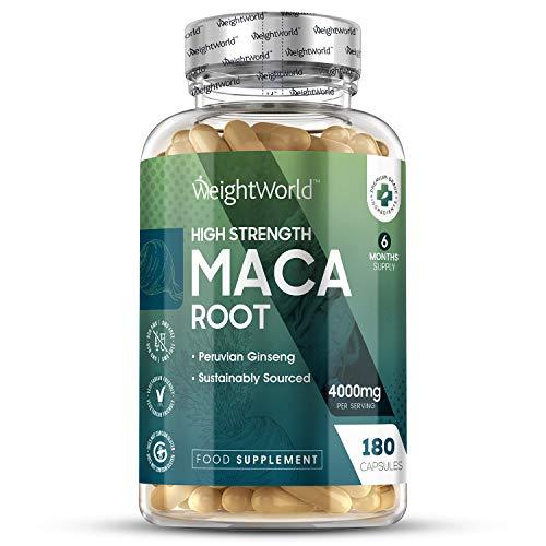 Racine de Maca Extra fort 4000mg par dosage (6 mois d'approvisionnement) - Extrait de racines de maca très puissant - Améliore l'humeur pour hommes/femmes - Capsules de Maca à forte concentration