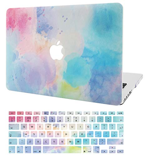 KECC Laptop Case for MacBook Pro 13' (2020/2019/2018/2017/2016) w/Keyboard Cover Plastic Hard Shell A2159/A1989/A1706/A1708 Touch Bar 2 in 1 Bundle (Rainbow Mist 2)