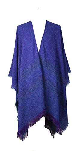 Kerry Woollen Mills Celtic Ruana Long Shawl Irish Wool Lambswool Purple Mara