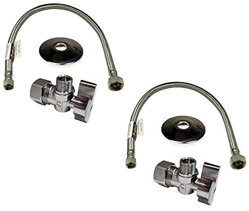 Complete Set 1/2 in. NOM Inlet x 3/8 in. OD Compression Outlet Angle Shut Off Valve + Escutcheon Plate + 20