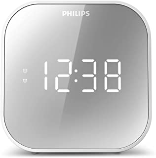 Philips Wake-Up Wekker met Radio, Radio met Gespiegeld Display Voor Naast het Bed, Digitale Radio met Dual Alarm, Sleeptim...