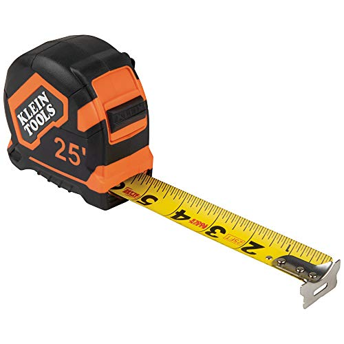 Klein Tools 9125 Tape Measure, 25-Foot Single-Hook Measuring Tape, Non-magnetic with Retraction Speed Break and Metal Belt Clip