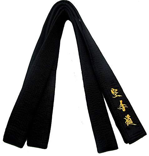 noir ceinture satin (matsumoto) avec broderie en japonais 300cm longueur pour hommes / femme Karaté, Kickboxing, Shotokan, Shito-Ryu, Goju Ryu , tout styles de arts martiaux
