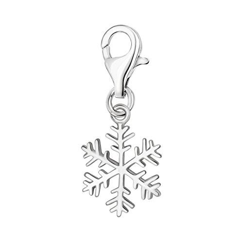 Quiges Charm Anhänger 3D Winter Schneeflocke 925 Silber mit Karabinerverschluss für Bettelarmband