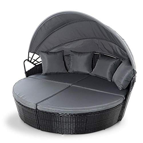 EVRE Bali Day Bed Outdoor Garden Furniture Set With Canopy - Black (Black)