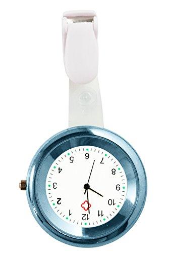 Ellemka - Krankenschwestern Damen Herren Unisex | Taschenuhr Ansteckuhr Analog | Digitales Quarzwerk | Hängeband aus Kunststoff | NS-2103 Hellbau Light Blue